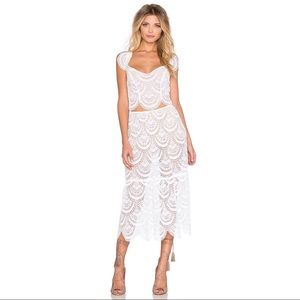 For Love & Lemons Rosalita Midi Skirt White S NWT